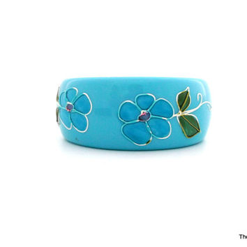 Vintage Lucite bangle bracelet hand painted floral blue green white pink