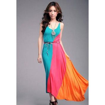 Color Block Sleeveless Maxi Dress with Belt