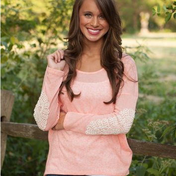 Lace Patchwork Long Sleeve Round Neck T Shirt