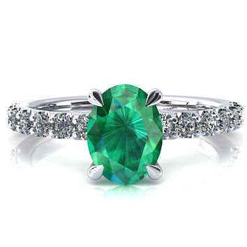 Alessi Oval Emerald 4 Claw Prong 3/4 Micro Pave Engagement Ring
