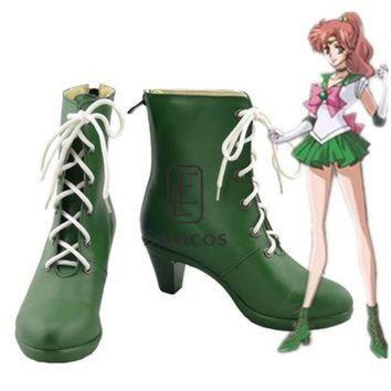 DCK7YE Anime Sailor Moon Sailor Jupiter Cosplay Party Shoes Green Boots Custom-made
