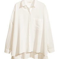 H&M - Oversized Shirt - White - Ladies