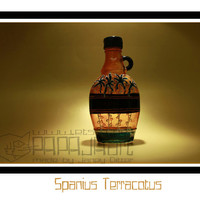Spanius Terracotus - Original Hand Painted Syrup Bottle, Upcycled Bottle, Art on Glass