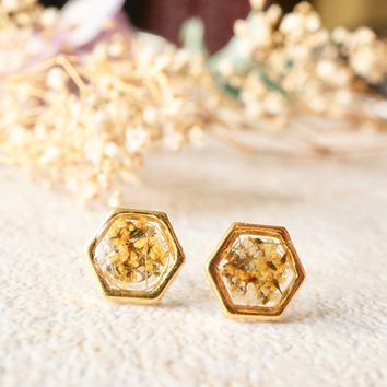 Real Pressed Flowers and Resin Hexagon Gold Stud Earrings in Yellow and White