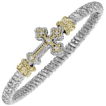 Vahan Sterling Silver & 14K Yellow Gold Large Diamond Cross Bangle Bracelet