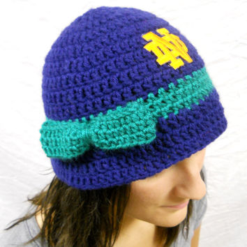 Notre Dame Football Inspired Ladies Crochet Cloche Bucket Hat with Embroidered Logo and Bow
