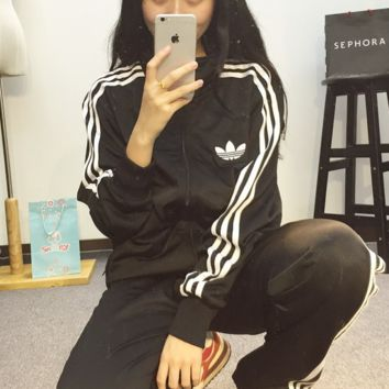 """Adidas"" Women Couple Casual Print Cardigan Jacket Sweatshirt Pants Sweatpants Set Two-Piece Sportswear"