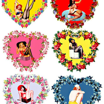 pin up girls flower hearts png clip art COLLAGE SHEET digital download