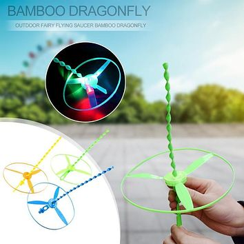 1pc Spin Outdoor Fairy Flying Saucer Bamboo Dragonfly Helicopters Toys with Led Light Kids Education Toys For Children Gift