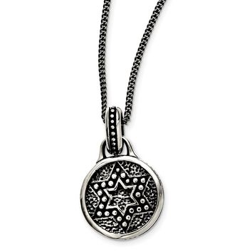 Stainless Steel Antiqued & Polished Star of David Necklace 22in