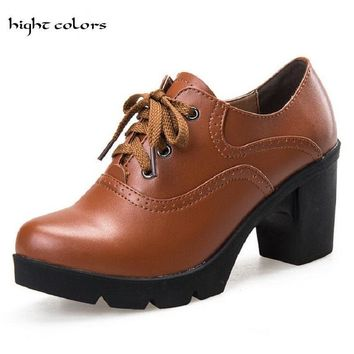Hot Selling Vintage Lace Up Oxford Shoes For Women Fashion British Style Round Toe Woman Oxford Shoes Ladies School Shoe CLB88