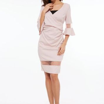 Plain Bell Sleeve V-Neck Women's Sheath Dress