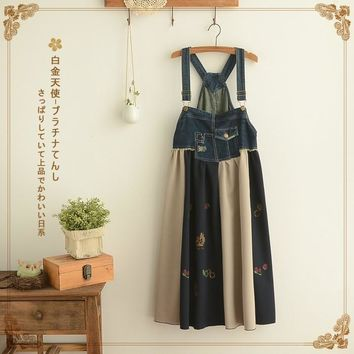 Japanese Sweet Cowboy Denim Sundress Off Shoulder Backless Dress Women Harajuku Print Cotton Patchwork Cute Kawaii Dresses T264