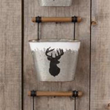 Tin Bucket with Wood Handle Deer