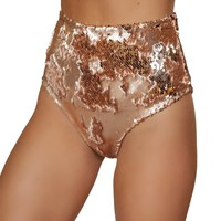 Roma Rave 3617 - 1pc Two-Tone High Waisted Sequin Shorts