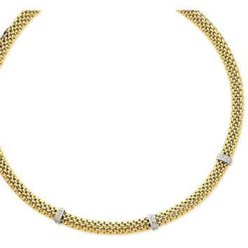 14k Two-Tone Gold 0.05ct Completed Polished Diamond & Mesh Bracelet