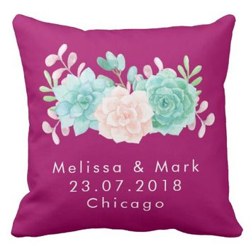 Pastel Pink & Green Floral Bouquet Wedding Throw Pillow