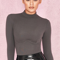 Clothing : Bodysuits : 'Adalin' Dark Grey Rib Knit Jersey Bodysuit