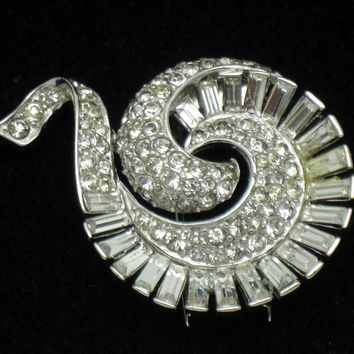 MARCEL BOUCHER Vintage Patented Rhinestone Dress Fur Clip Brooch Pin