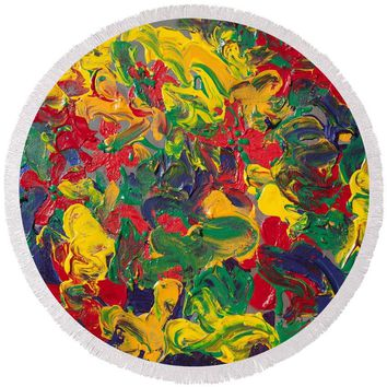 Abstract Painting - Color Explosion - Round Beach Towel