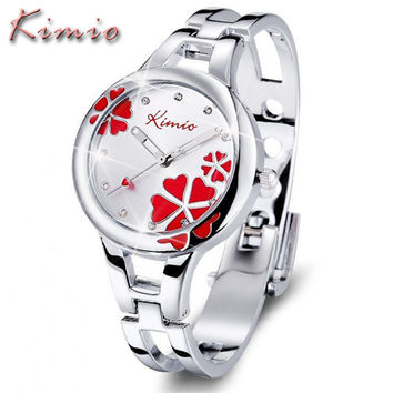 KIMIO Womens Watches Top Brand Quartz Watch Women Dress Discolor Flower Dial Bracelet Watch Casual Women's Watches Wristwatch