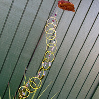 Swirl Glass wind chime, Recycled yellow wind chime, upcycled, glass circles, green glass, Butterfly beads