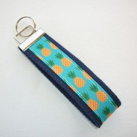 Key FOB / Key Chain / Wristlet - pineapples on navy - teachers gift coworker bridesmaids