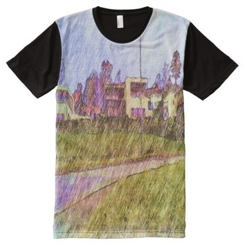 Unique House drawing All-Over-Print Shirt