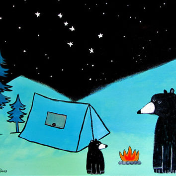 Camping Bears Painting, Baby Room Nursery Decor, Kids Wall Art