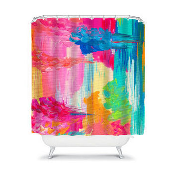 THE RETURN, Bold Pink Fine Art Painting Shower Curtain Washable Floral Home Decor Lovely Feminine Pink Blue Rain Cloud Modern Style Bathroom