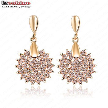 LZESHINE Fashion New Prom Party Earrings Pink Austrian Crystal SWA Element Earring Studs Fashion Jewelry 16*28mm ER0071-C