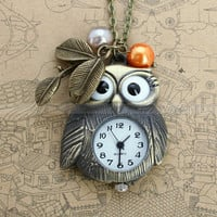Pocket watch-owl necklace with antique bronze owl design pendant, leaves charm and glass pearl charms