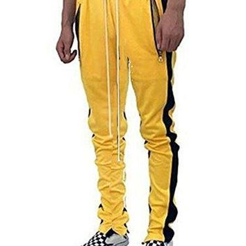 Pxmoda Men's Casual Hip Hop Jogger Pants Running Sports Track Pants (L, Yellow)