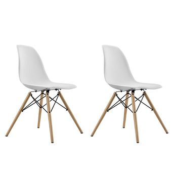 Dorel Home Furnishings White Mid Century Modern Molded Chair with Wood Leg, Set of 2