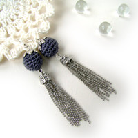 Long tassel earrings with grey bead modern crochet accessory sterling silver hooks