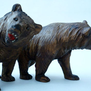 Black Forest Bears, Pair Of Hand Carved Bears, Black Forest Carvings, Black Forest Carved Bears, Hand Carved Wood, Antique Carved Bears