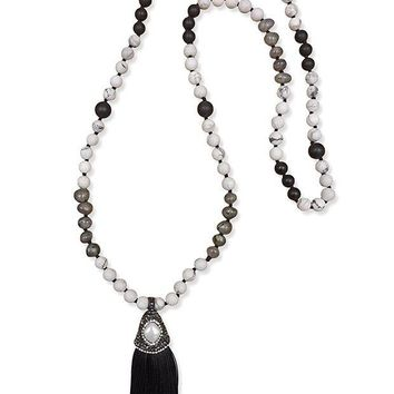 NOVO5 MGR Mala Beads Long Beaded Semiprecious Stone Statement Necklace with Druzy Cap Tassels.