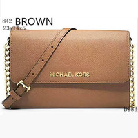 MICHAEL KORS Lash package Woman shopping leather metal chain shoulder bag B-LLBPFSH Brown