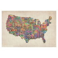 US Cities Text Map VI Unframed Wall Canvas