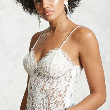 Sheer Lace Cami Bodysuit