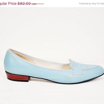 30% off SALE powder baby blue leather penny loafer sock hop oxford lolita kawaii cute pastel flats shoes mod  size 8