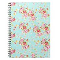 Vintage chic floral roses blue shabby rose flowers note books