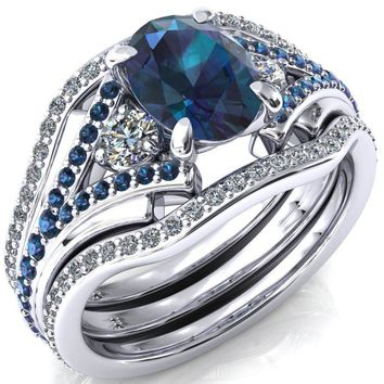 Arietis Oval Alexandrite Diamond Sides 3/4 Eternity Accent Alexandrite Ring