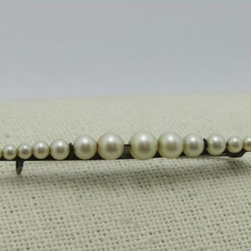 """Vintage Sterling Faux Pearl Brooch, Bar Pin  Graduated, 2.25"""", 2.75gr, 1930's, c-clasp"""