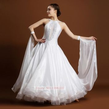 Ballroom Dance Dresses Women New Sexy Backless Standard Waltz Dancing Costume Adult White Ballroom Competition Dresses