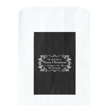 Classic Black White Personalized Family Christmas Favor Bags