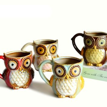 3D Animal Cute Owl Mugs 300ml Cartoon Coffee Mug Ceramic Milk Tea Cups Breakfast Morning Coffee Mug Funny Gift Collection