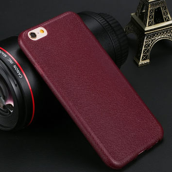 Luxury Wine Red Soft TPU High Quality Super Thin Comfort Pattern Texture Phone Back Cover Case for iPhone 6 6S 4.7''