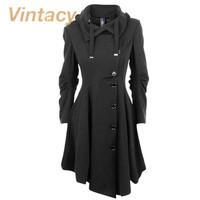 Vintacy vintage women coats black trench coat buttons 2016 fashion autumn trench long sleeve trench women coats office outwear