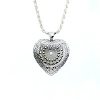 Ready to ship, Filigree heart pendant with diamond, diamond necklace, unique pendant, vintage, diamond jewelry, anniversary gift, wedding